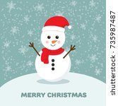 snowman vector cartoon... | Shutterstock .eps vector #735987487