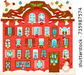 huge christmas house with lot... | Shutterstock .eps vector #735987574