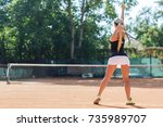 female tennis player in action. ... | Shutterstock . vector #735989707