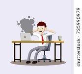 cartoon flat sad scared office...   Shutterstock .eps vector #735990979
