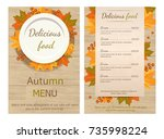 menu autumn. plate with yellow... | Shutterstock .eps vector #735998224