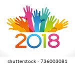 vector 2018 happy new year... | Shutterstock .eps vector #736003081