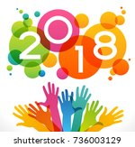 vector 2018 happy new year... | Shutterstock .eps vector #736003129