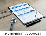 medical check up report for... | Shutterstock . vector #736009264