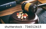 drugs and law. judge gavel and... | Shutterstock . vector #736012615