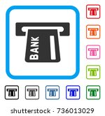 banking atm icon. flat gray...