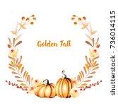 autumn wreath with watercolor...   Shutterstock . vector #736014115