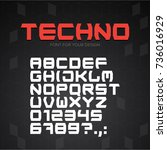 technology font. geometric ... | Shutterstock .eps vector #736016929