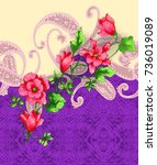 paisley pattern with flowers...   Shutterstock . vector #736019089