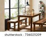 spacious dining room. interior... | Shutterstock . vector #736025209