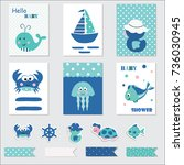 set of baby cards and scrapbook ... | Shutterstock .eps vector #736030945