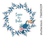 save the date tropical post card | Shutterstock .eps vector #736034239