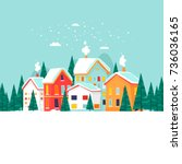 winter city landscape. new year ... | Shutterstock .eps vector #736036165