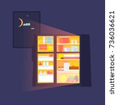fridge with food at night. flat ... | Shutterstock .eps vector #736036621