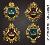 set of golden royal shields... | Shutterstock .eps vector #736038805