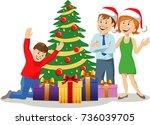 illustration of happy family... | Shutterstock .eps vector #736039705