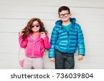 adorable toddler girl and her... | Shutterstock . vector #736039804