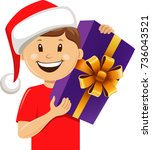 boy with santa hat and... | Shutterstock .eps vector #736043521