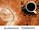top view of cup coffee on... | Shutterstock . vector #736046341