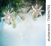 christmas background with... | Shutterstock . vector #736046701