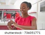 beautiful happy african woman... | Shutterstock . vector #736051771