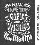 please leave your gifts and... | Shutterstock .eps vector #736052881