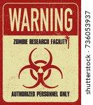 grungy biohazard symbol. zombie ... | Shutterstock .eps vector #736053937