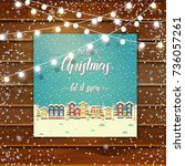 christmas wooden background... | Shutterstock .eps vector #736057261