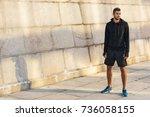 athletic sportsman in... | Shutterstock . vector #736058155