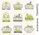 retro farm market signs.... | Shutterstock .eps vector #736060951