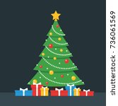christmas tree and gift boxes... | Shutterstock .eps vector #736061569