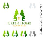 green home and real estate... | Shutterstock .eps vector #736065727