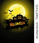 halloween poster  night... | Shutterstock . vector #736071151