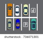 city parking lot with different ... | Shutterstock . vector #736071301