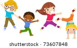 children jumping   vector | Shutterstock .eps vector #73607848