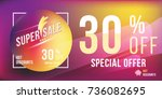 special offer 30  discount in... | Shutterstock .eps vector #736082695
