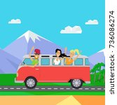 traveling by minibus. happy... | Shutterstock . vector #736086274