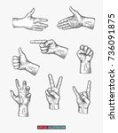 hand drawn hands gestures set.... | Shutterstock .eps vector #736091875