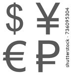 currency signs set icon. ... | Shutterstock . vector #736095304