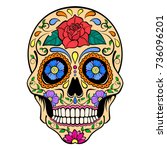 sugar skull with red rose... | Shutterstock .eps vector #736096201