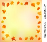 autumn background with leaves.... | Shutterstock .eps vector #736105369