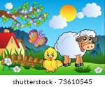 meadow with happy spring... | Shutterstock .eps vector #73610545