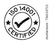 grunge black iso 14001... | Shutterstock .eps vector #736114711