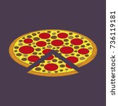 flat shading style icon pizza | Shutterstock .eps vector #736119181