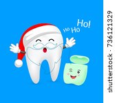cute cartoon tooth character... | Shutterstock .eps vector #736121329