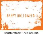 horizontal happy halloween... | Shutterstock .eps vector #736121605