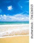 white sand sunshine surf  | Shutterstock . vector #736126015