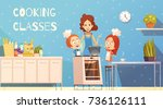 cooking classes for children in ... | Shutterstock .eps vector #736126111