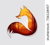 paper art carve to fox and see... | Shutterstock .eps vector #736128457