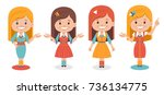 smiling cute girls in different ... | Shutterstock .eps vector #736134775